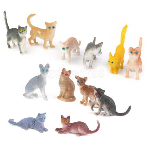 12 Assorted Breeds Plastic Cats Kittens Animal Figure Kids Party Bag Fillers | eBay