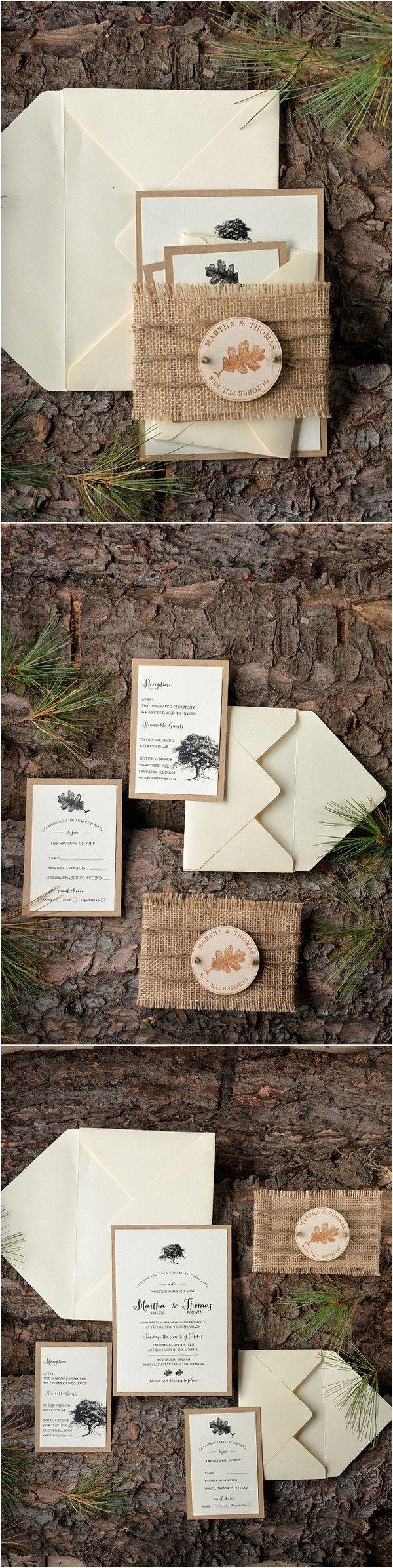 Rustic country burlap wedding invitations @4LOVEPolkaDots