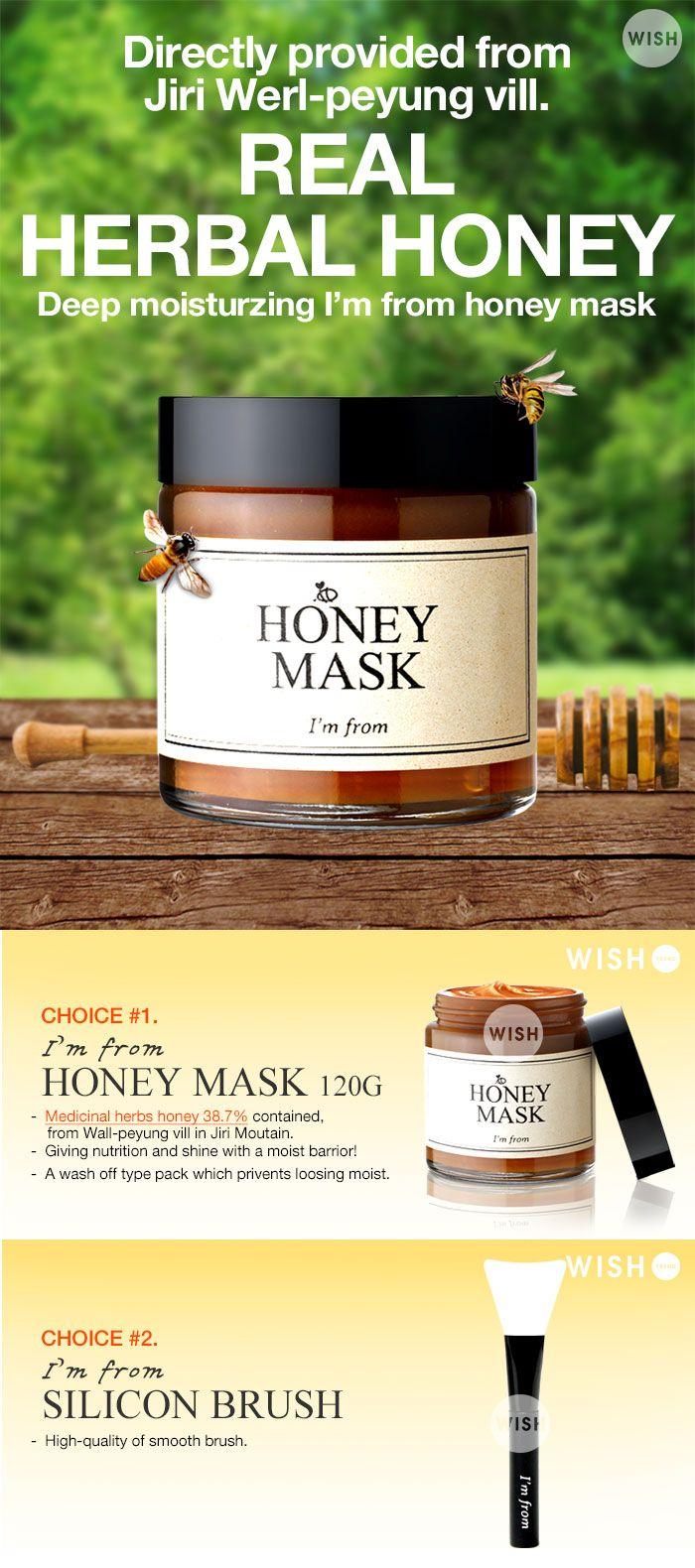 [I'M FROM] Honey Mask (Real Honey 38.7% Inside !)  Real Herval Honey inside ! (38.7%) Directly provided from Jiri Werl-peyung vill. Korea.  Deep moisturizing I'M FROM Honey Mask.  Brand : I'M FROM Volume :  All Skin Types Made in Korea $37.90