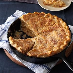 Cinnamon-Sugar Apple Pie Recipe -Apple pie baked in a cast iron skillet is a real stunner. This beauty, with its flaky, tender crust, also works in a 9-inch deep-dish pie plate. —Renee Schettler Rossi, New York, New York