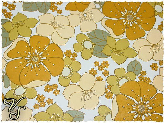 Original Restbestände der 70er. Typisches 70er Jahre Muster - Flower Power - Blumen - blumig - floral.  Kanten vollständig beschnitten, gebrauchsfertig  Hersteller unbekannt  **Der Preis von...