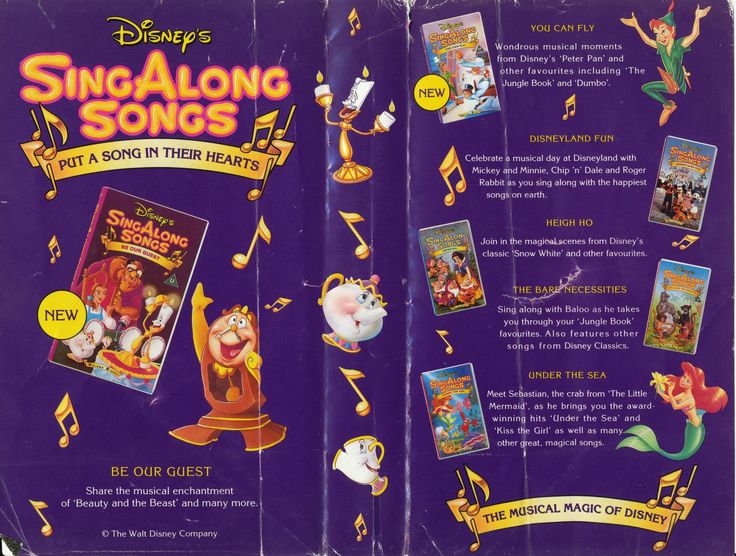 """Disney Sing Along Songs are a series of videos, laserdiscs and DVDs with musical moments from various Disney films, TV shows and attractions. Lyrics for the songs are displayed on-screen with the Mickey Mouse icon as a """"bouncing ball"""". Early releases opened with a theme song introduction containing footage featuring Professor Owl and his class, seen originally in 1953 in two Disney shorts Melody and Toot, Whistle, Plunk and Boom as well as exclusive footage for the sing alongs. Professor…"""