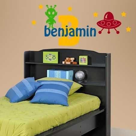 Space Ship & Alien Wall Decal - http://www.theboysdepot.com/space-ship-and-alien-wall-decal.html: Wall Decal