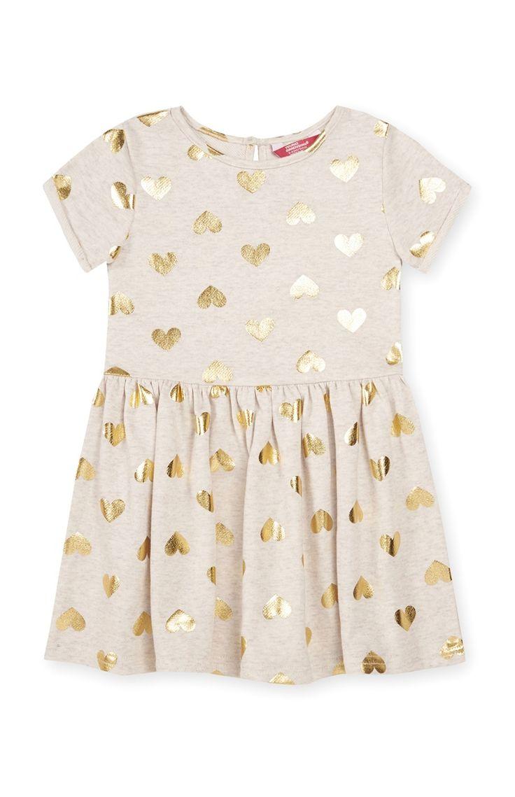 Primark - Foil Heart Print Dress 3-4 Yrs