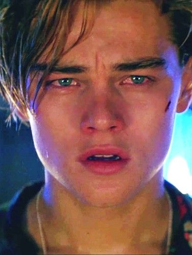 "Leonardo DiCaprio (Romeo Montague) in ""Romeo + Juliet"" (1996) >> look at that face… it's so believable & beautiful! <3 :'("