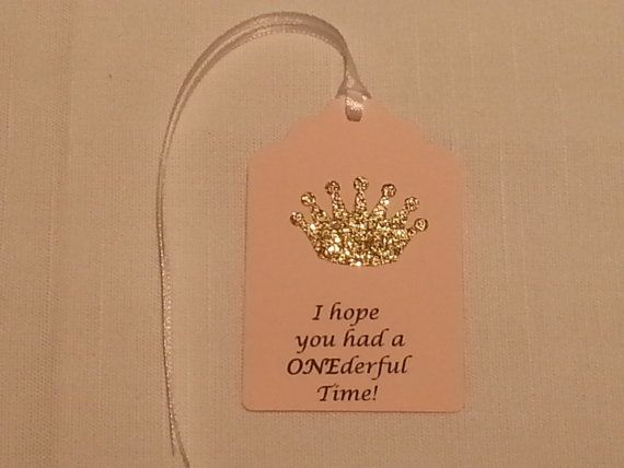 Gold Princess Crown Party Favor Tags: I by ImagineCelebrations