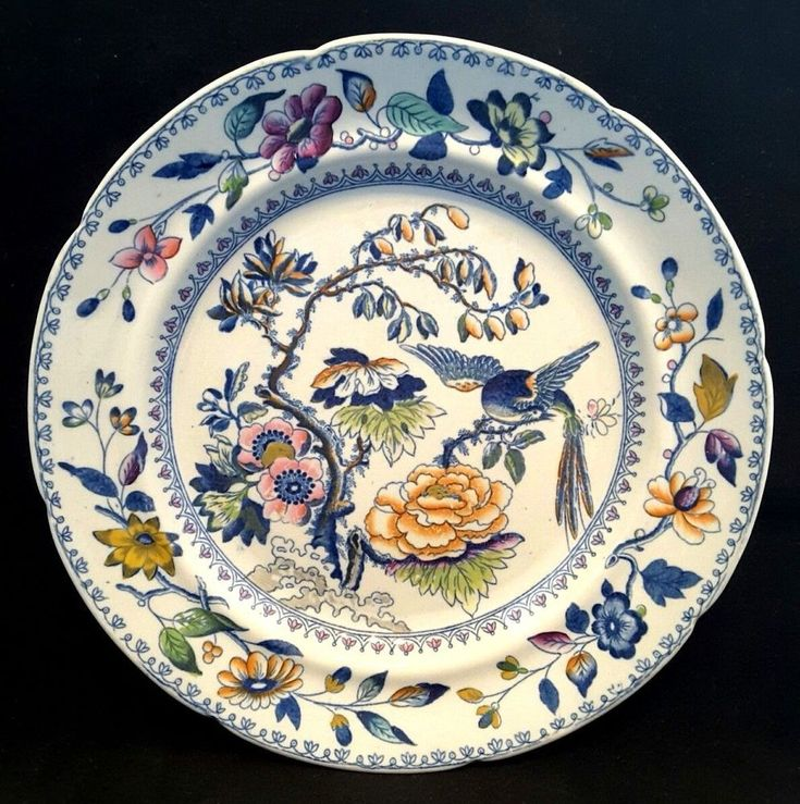 """##Davenport~Stone China~#Victorian~#Antique~Plate~#Bird~Hand-Painted~8.75""""D  It's almost 2018 guys & gals! Time to 'out with the old' & 'in with the #new' - #REJUVENATE your #home with stunning #Glass #Art! #Seraphimslair's #GlassShack has everything for all tastes & settings! #InteriorDesign #Trending #Colors #NewYearsResolution #USA #UK #Stylish #Style #Fashion #Oceanside #Beach #Ocean #Family #Friends #Gifts #Caribbean #Holidays #Travel #LiveLoveLife!!! xxx"""