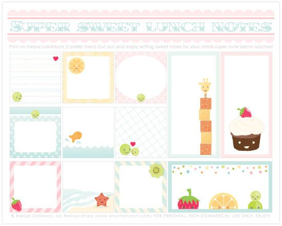 adorable lunch notes ~ free printable