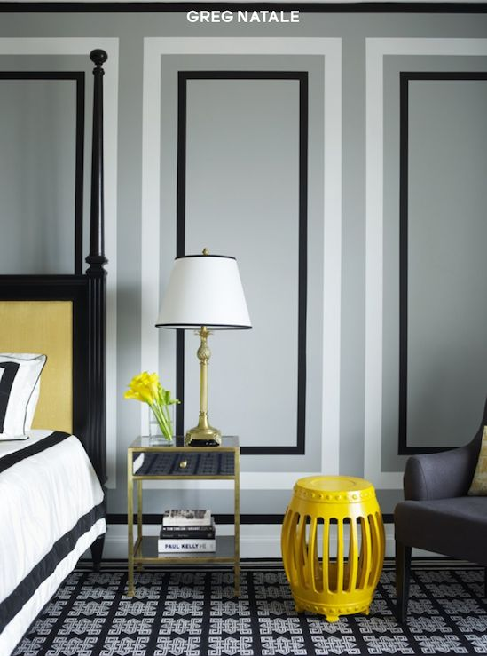 Greg Natale Chic Yellow Gray Black Bedroom Design With Gray Walls Paint Color Yellow