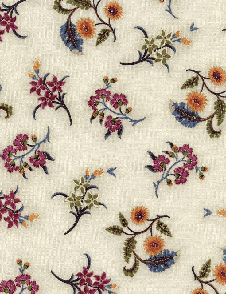 Timeless Treasures - Tivoli-CM4854-Cream Spaced Bouquets