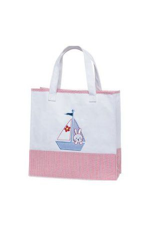 Red stripe baby girl's nautical canvas tote bag