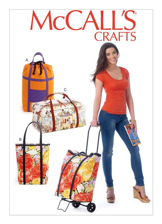 This is a rare McCalls sewing pattern. Package includes patterns and instructions for three lined luggage cart bags. A, B: Contrast bands and straps. A: Contrast front pocket and drawstring top. C: Contrast straps.  Tote A: 21 H x 13 W x 10 D Tote B: 21 H x 13 W x 10 D Tote C: 10 H x 21 W