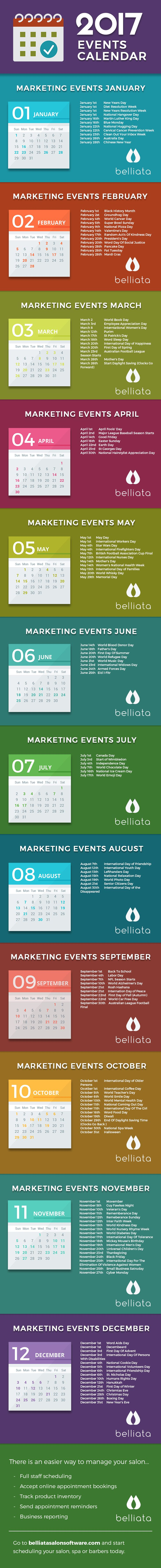 Is your salon marketing plan 2017 ready to go? Belliata Salon Software have created a marketing calendar to help you drive new