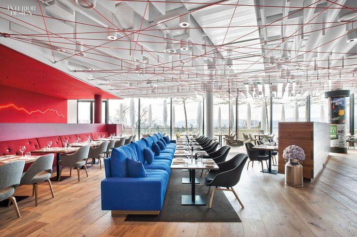 Rolf Sachs Designs an Alpine Restaurant in Zurich | At Saltz in Zurich, Eero Saarinen chairs face custom sofas by Rolf Sachs, who designed the 3,000-square-foot restaurant.