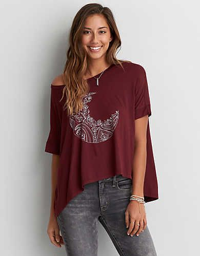 American Eagle Women Graphic T Shirt Soft Sexy Over Size Small Maroon Moon  #AmericanEagleOutfitters #GraphicTee