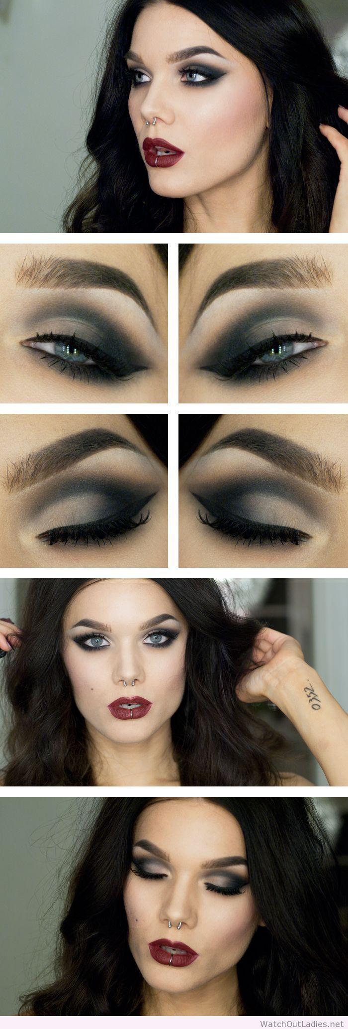 Linda Hallberg dark lips and eye makeup