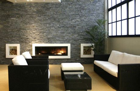 Blue Black Slate Natural Stone Cladding Panel Brick Slip Easy Build Wall Cladding Panels The