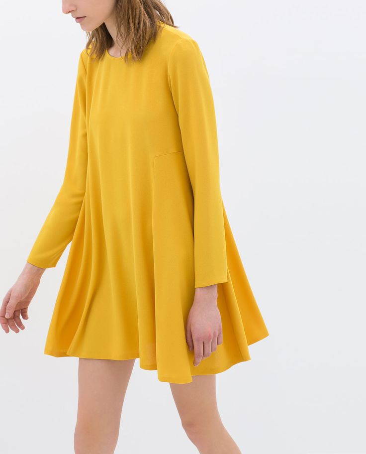 LONG-SLEEVE DRESS from Zara  My mom made a dress very much like this for me in 5th grade. Same color with bigger sleeves. I adored it!