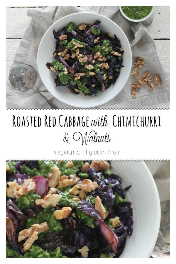 Roasted Red Cabbage With Chimichurri And Walnuts