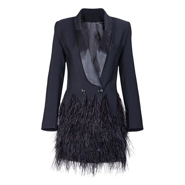 Sade Feather Tux Dress Lux RB Chic ($298) ❤ liked on Polyvore featuring dresses, blue dress, tux dress, feather dress, dinner suit and tuxedo suit