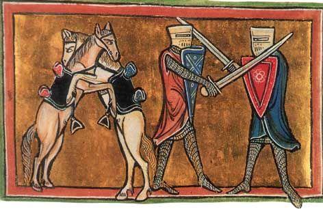 Seltene Darstellung zweier kämpfender Hengste neben ihren jeweiligen Rittern - Allegorie oder Realität? Aus einem englischen Bestiarium, frühes 13. Jh., British Library, 12F XIII