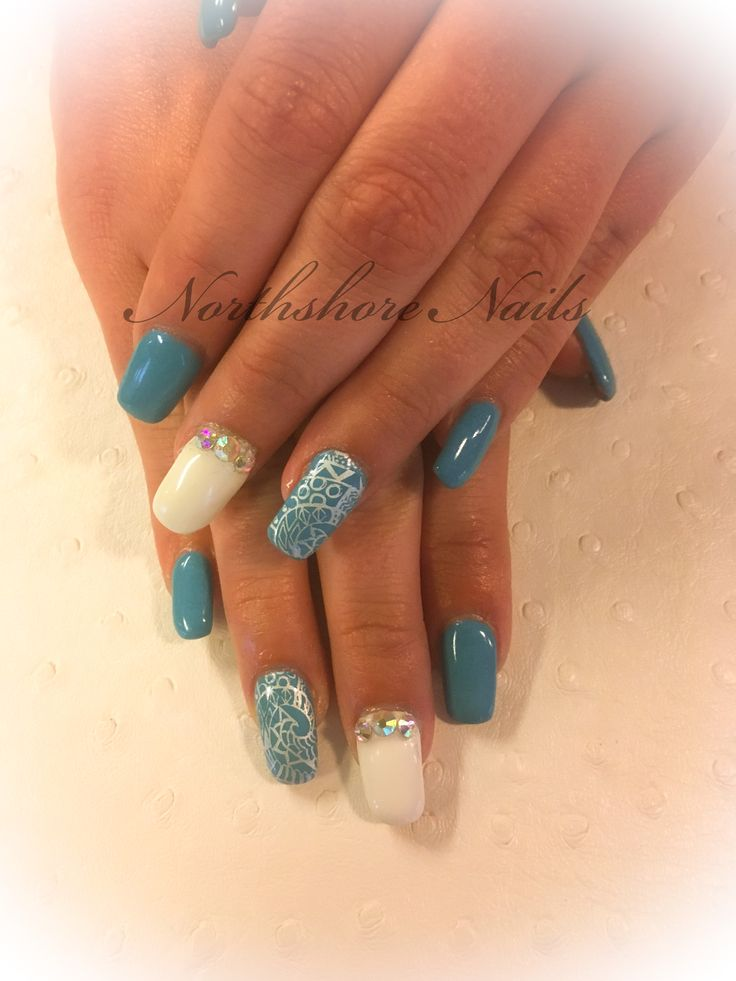 First Day of Spring!! Cool blue Polynesian with white rhinestone features!!
