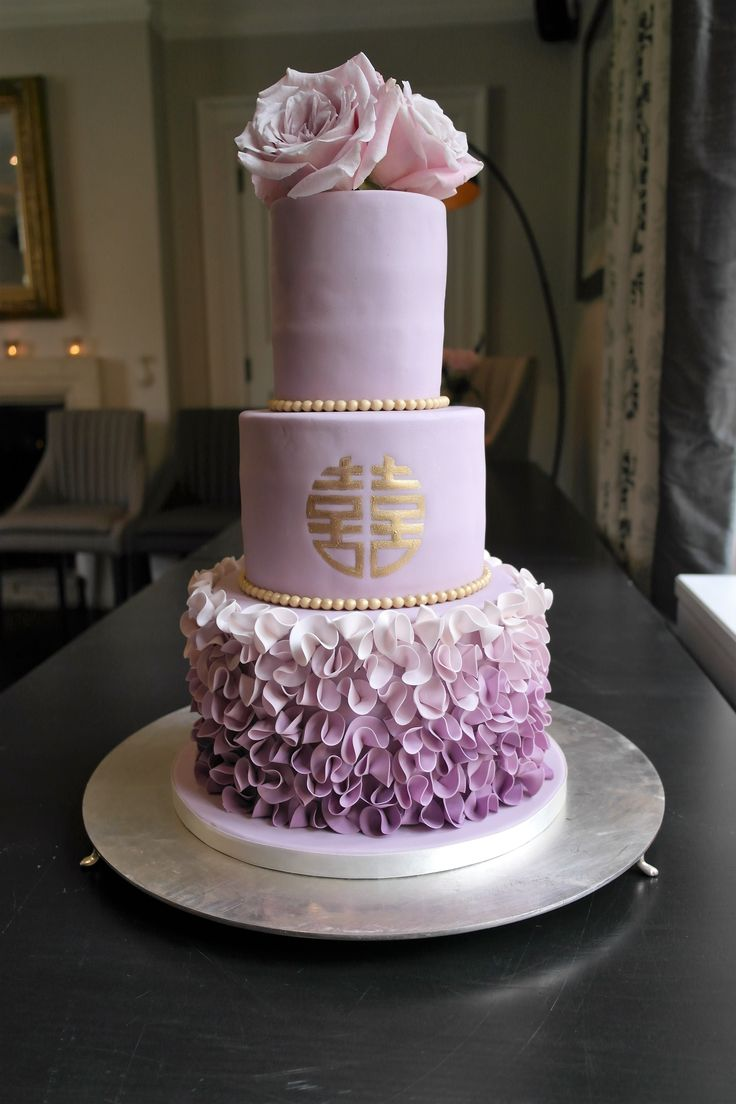 Ombre Violet Ruffle Wedding Cake