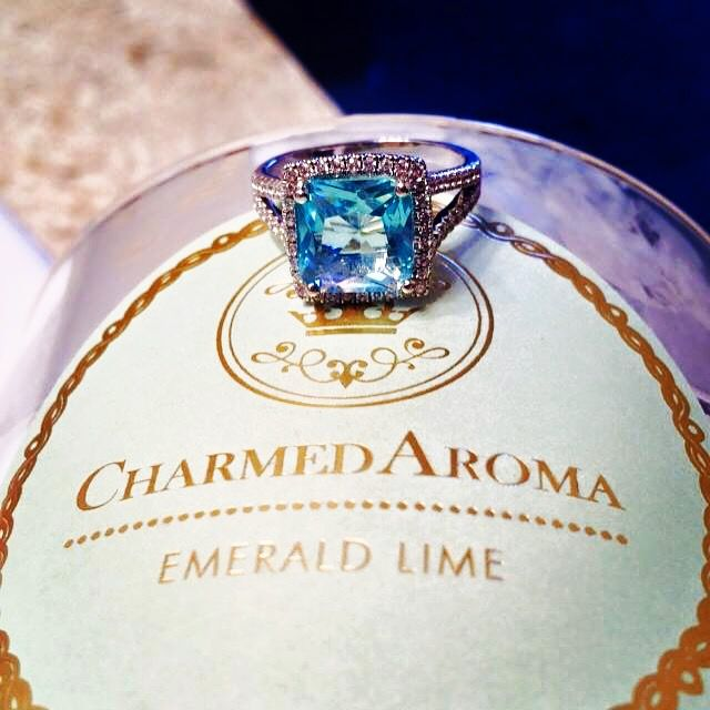 Find this gorgeous aquamarine ring in Charmed Aroma candles today!
