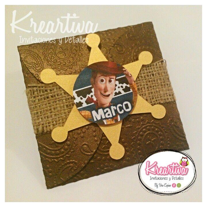 Invitaciones troqueladas y texturizadas de Woody de Toy Story.   Estamos en Reynosa, Tam., buscanos en Facebook: KreArtiva Invitaciones