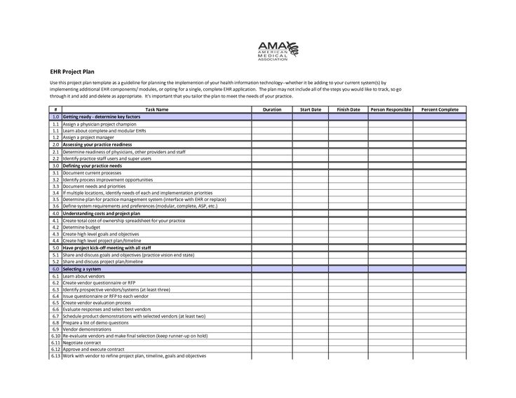 sample project plan template EHR Project Plan Template Self - it project plan template