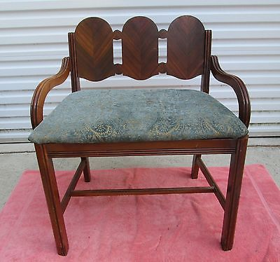 Vintage Fancy Art Deco Waterfall Back Vanity Bench Stool Chair Upholstered Seat