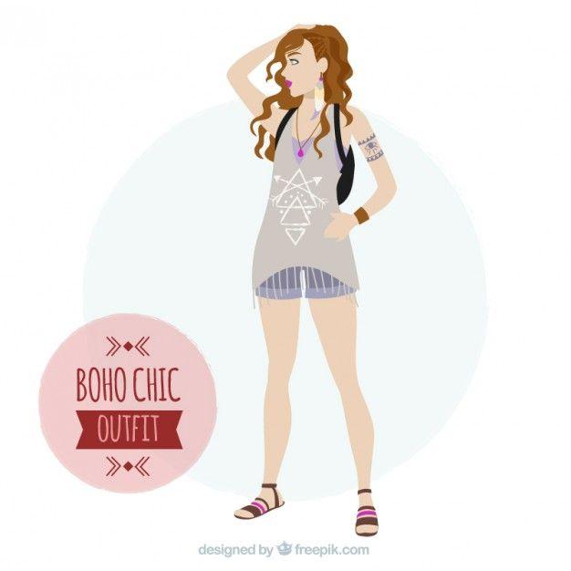 Chica hippie con ropa estilo boho  Vector Gratis