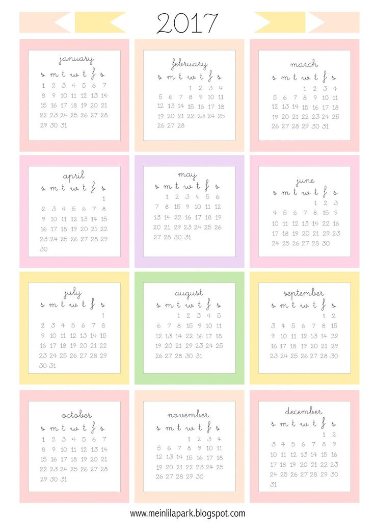 Today I created free printable 2017 calendar with each month as a mini card for you. The monthly cards are perfect for planners, diaries...