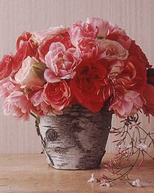 How to make a Bark PotPink Flower, Marthastewart, Diy Crafts, Flower Arrangements, Flower Pots, Martha Stewart, Gardens Crafts, Bark Wraps Flowerpot, Make Flowers
