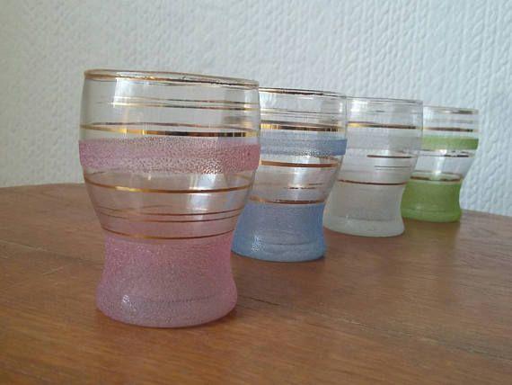 Vintage Textured Pastel Shot Glasses // Set of 4 // Gold