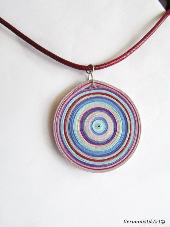 Quilled Bubble Geometric Necklace, Paper Quilling Geometric Pendant, Statement Quilling Jewelry, Lavender Blue Burgundy Necklace 23€