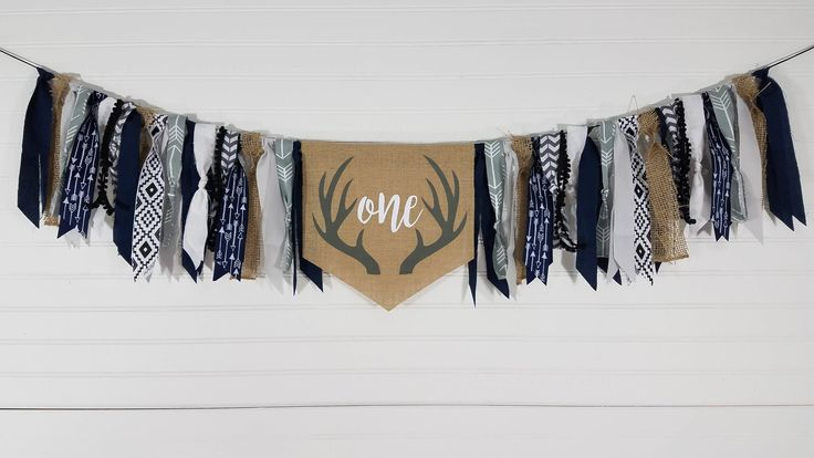 ONE Deer Antler Burlap, Rag and Ribbon Highchair Garland Banner, First Birthday Party Decorations, Wild One, Woodland, Rustic Tribal Hunting by eventprint on Etsy