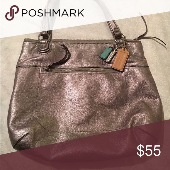 Coach tote bag Metallic Coach tore bag with standard shoulder straps. The cute colored Coach tags are a fun, but simple pop of color!! Make me an offer! Coach Bags Totes