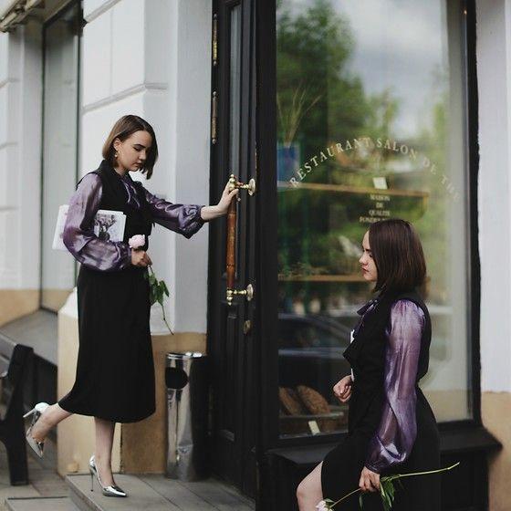 Get this look: http://lb.nu/look/8763055  More looks by Alina Ermilova: http://lb.nu/alina_ermilova  Items in this look:  Vintage Metallic Blouse, Lost Ink Silver Pumps   #chic #elegant #romantic