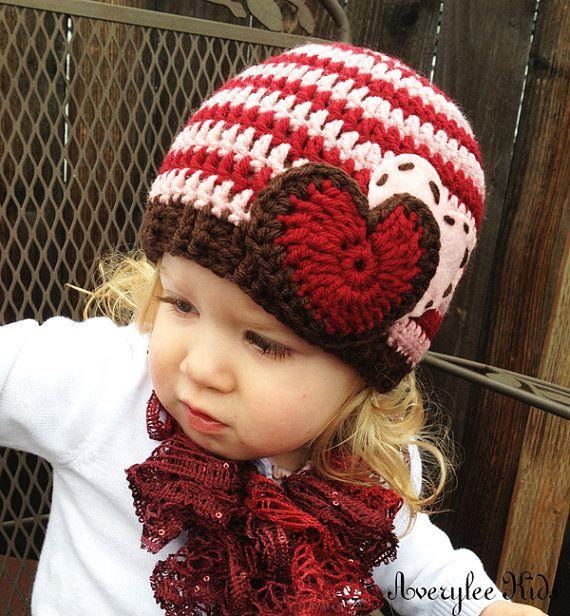 Girls Valentine Hat Crochet Beanie Hat for Girls by AveryleeKids, $20.00