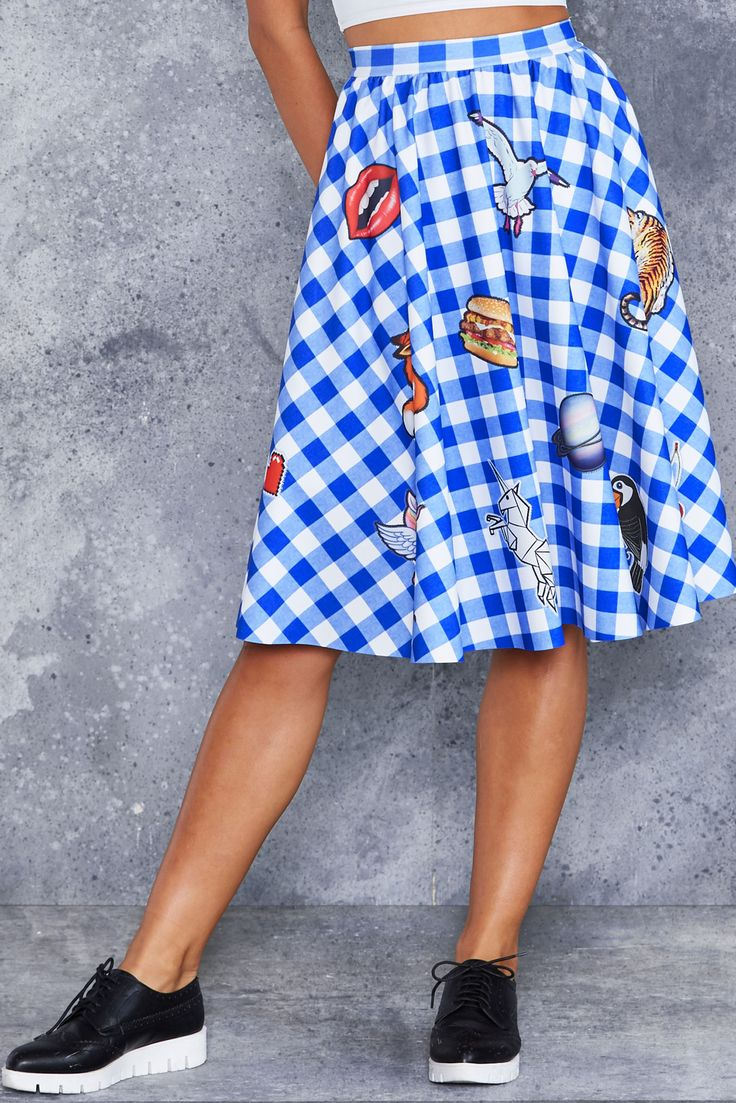 Got A Patch On You Pocket Midi Skirt - 48HR ($120AUD) by BlackMilk Clothing