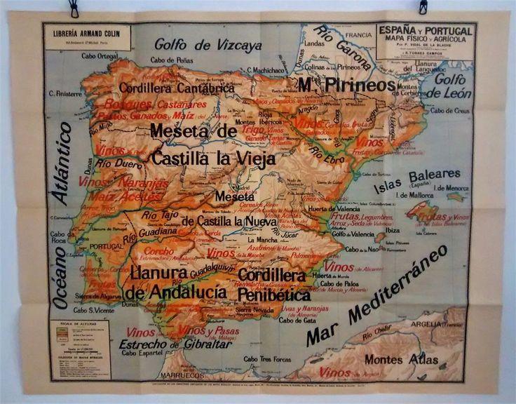10 best ideas about carte portugal on pinterest carte espagne portugal ca - Carte scolaire ancienne ...