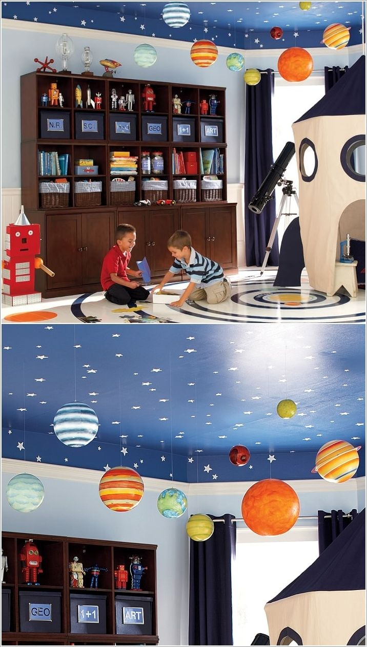 Paint Stars on a Deep Blue Ceiling and Hang Planets