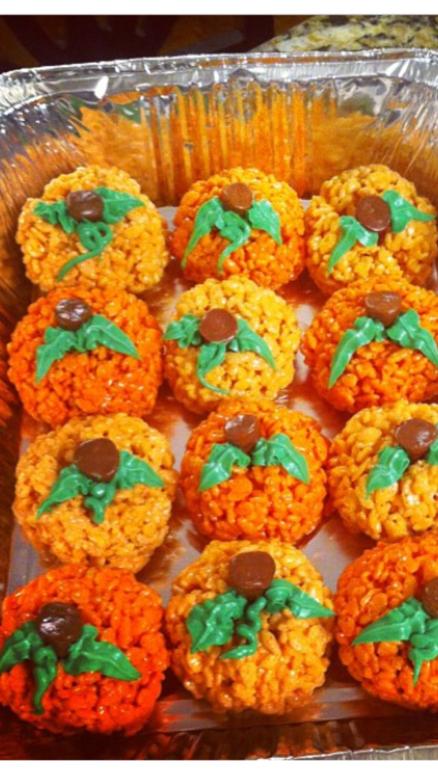 Pumpkin rice Krispy treats with tootsie roll stems! I think an upside rolo could work as well.