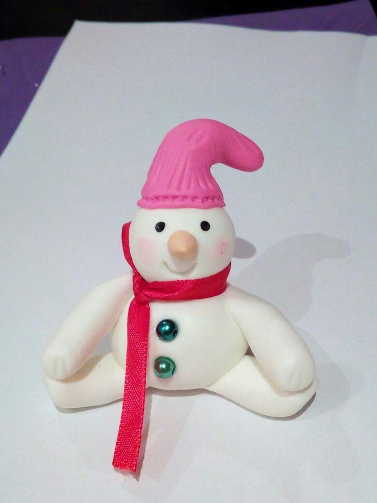 Boneco de neve em biscuit