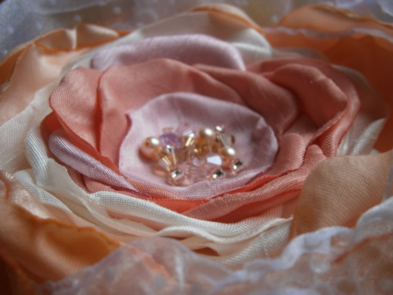 Peach pink white and orange fabric flower brooch with by Flowears, $16.70