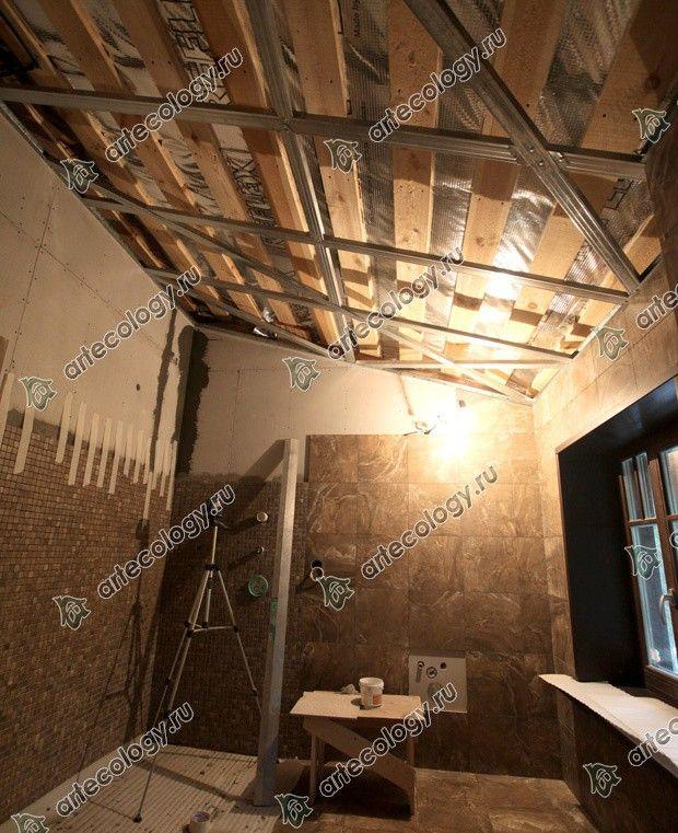 Реконструкция дома из лиственницы 2012 год. Отделка ванной в деревянном доме.