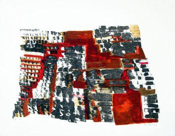 Vieira Da Silva : Lithographie originale signée : Aztèque, Tumulus