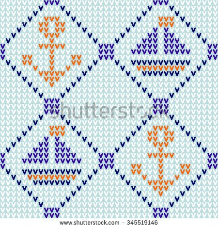 Marine knitted seamless pattern with anchor & bouts. Vector.