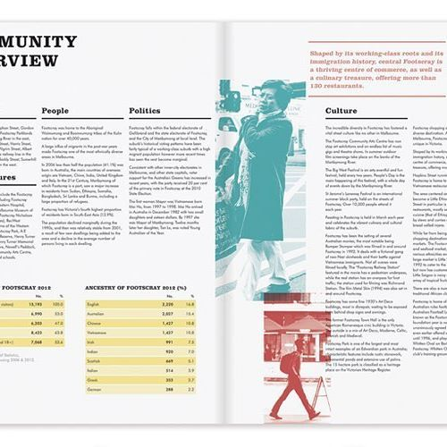 Community Profile / Annual Report Brief on the Melbourne Suburb, Footscray: page spread. See more at: www.karinya.me #graphicdesign #annualreport  #communityprofile #communityreport #footscray #documentdesign #docdesign #corporatereporting #layout #graphicdesigner #needadesigner #popofcolor #printdesign #printmedia